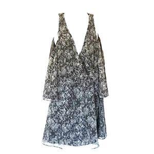 Zara Black print sheer cold shoulder Med dress